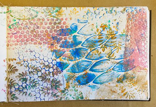 Art journal background ghost print