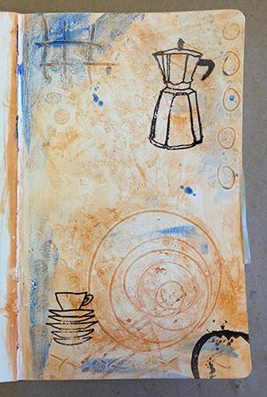 Stamped art journal background