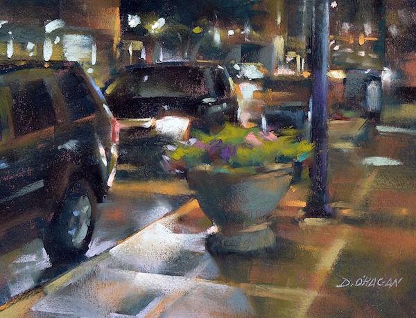Desmond O'Hagan City Street at Night, Pastel Demo | ArtistsNetwork.com