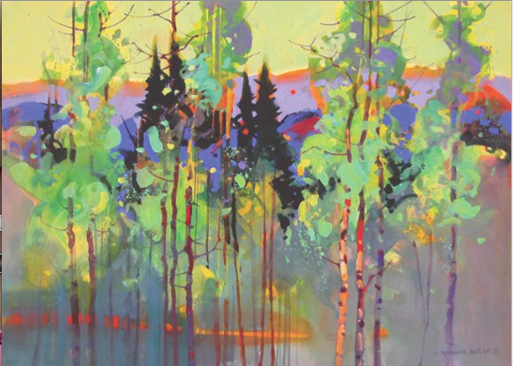 "ASPEN PATTERNS IN LA GARITA Stephen Quiller 22"" x 30"""