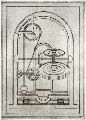Richard Whitten print of paddle-and-pulley based machine