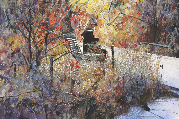 "AUTUMN HIGH LINE John Salminen Watercolor on Paper 36"" x 24"""