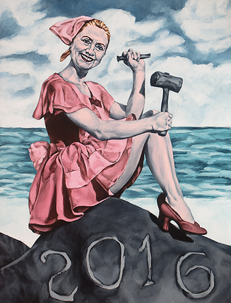 Political art: Sarah Sole's painting of Hillary Clinton Set in Stone