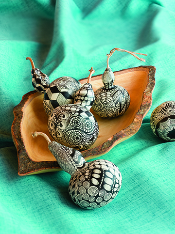 Doodled gourds by Kathi Taylor Shearer