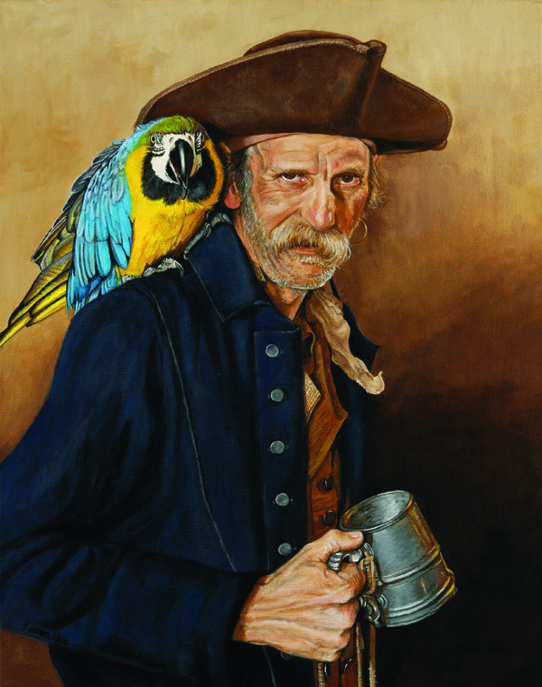 At the Benefit for Captain Bad Jack (acrylic on canvas, 20x16) Karen Yee