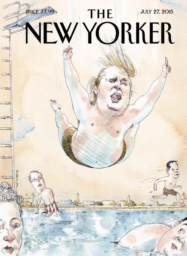 Political art: Donald Trump in Belly Flop on New Yorker Cover