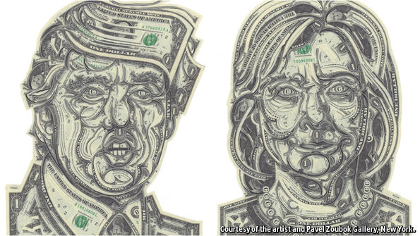 Political art: currency collage by Mark Wagner of Hillary Clinton and Donald Trump.