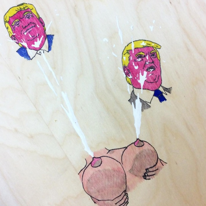 Political art: Rob Pruitt drawing