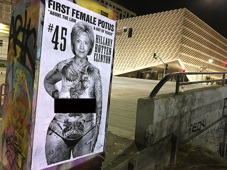Political art: Hillary Clinton topless and tatted