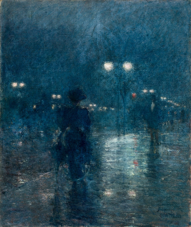 Nocturne painting: Fifth Avenue Nocturne by Childe Hassam.