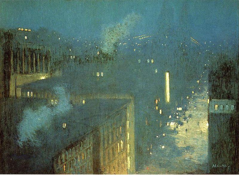 How to paint nocturnes: The Bridge Nocturne aka Nocturne Queensboro Bridge by J. Alden Weir, 1910.