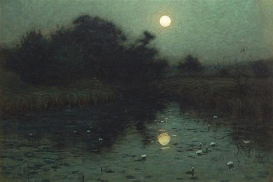 Nocturne painting: Moonlight Over a Pond by Birge Harrison.