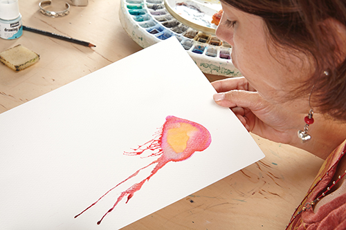 Blown watercolor technique by Gina Rossi Armfield