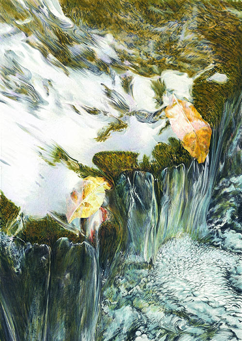 Crevice Stream IV (by Erwin P. Lewandowski, colored pencil, 25x14)