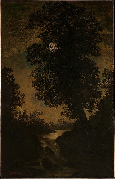 Ralph Albert Blakelock (1847–1919) A Waterfall, Moonlight, by 1886 American, Oil on canvas; 56 1/4 x 35 3/4 in. (142.9 x 90.8 cm) The Metropolitan Museum of Art, New York, Bequest of Eda K. Loeb, 1952 (52.48.2) http://www.metmuseum.org/Collections/search-the-collections/10183 austin's favorite