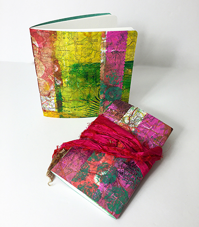 Handmade books with hand printed covers