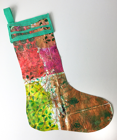 Hand painted paper Christmas stocking