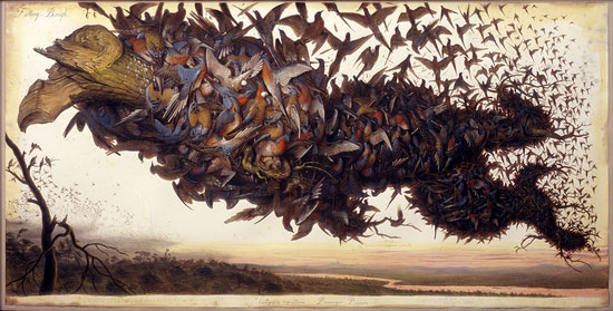 Bird painting: Falling Bough by Walton Ford, watercolor and mixed media, 2002.