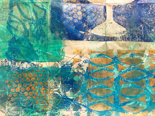 Monoprinted Hanukkah gift wrap