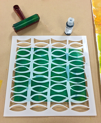 Monoprinting with stencils