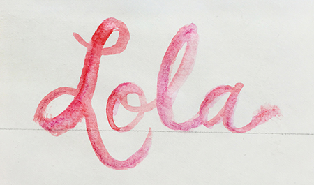 Shaded watercolor hand lettering