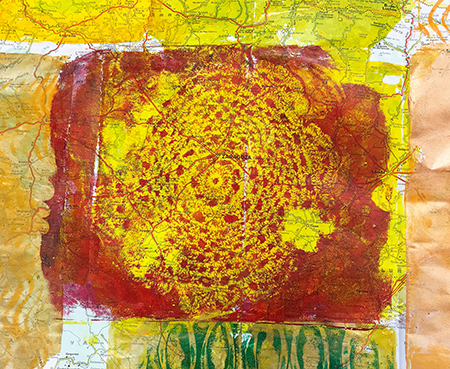 Monoprinting with a doily