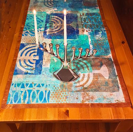 Handmade Hannukah table runner