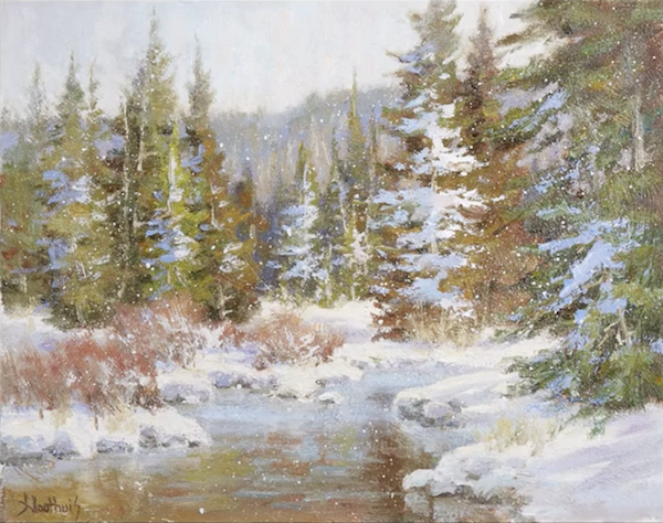 Acrylic Landscapes, Johannes Vloothuis, Snowy Evergreen
