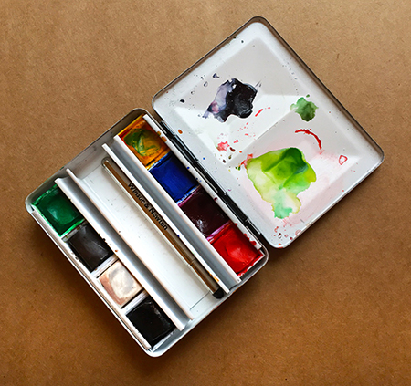 Portable watercolor tin