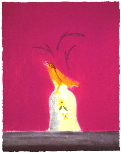 Yellow Bird on a Bell by Craigie Aitchison, screenprint, 2003.