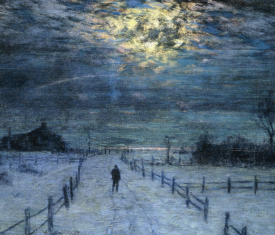 Landscape painting: A Wintry Walk by Lowell Birge Harrison, oil painting.