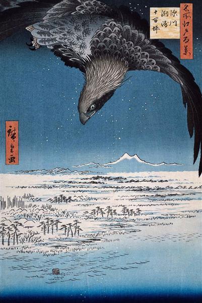 Bird painting: Eagle Over 100,000 Acre Plain at Susaki, Fukagawa (Juman-tsubo) by Hiroshige, 1857, woodcut.
