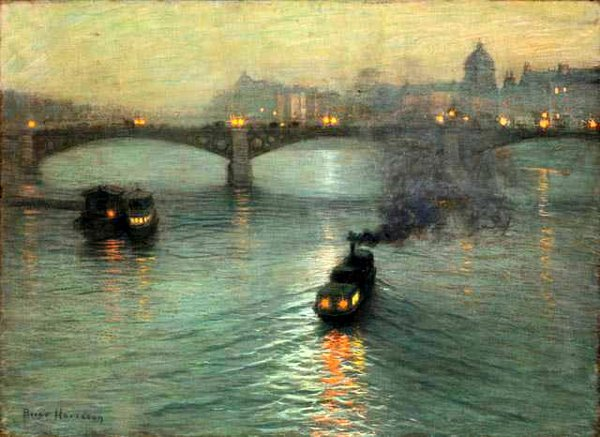 Evening on the Seine by Lowell Birge Harrison, landscape painting.