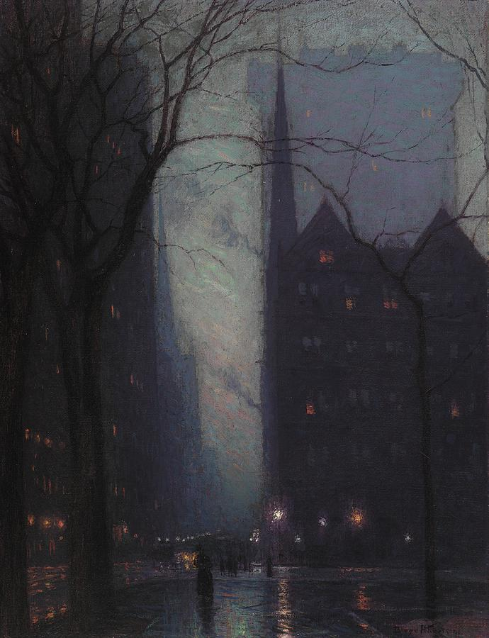 Landscape painting: Fifth Avenue at Twilight by Lowell Birge Harrison.