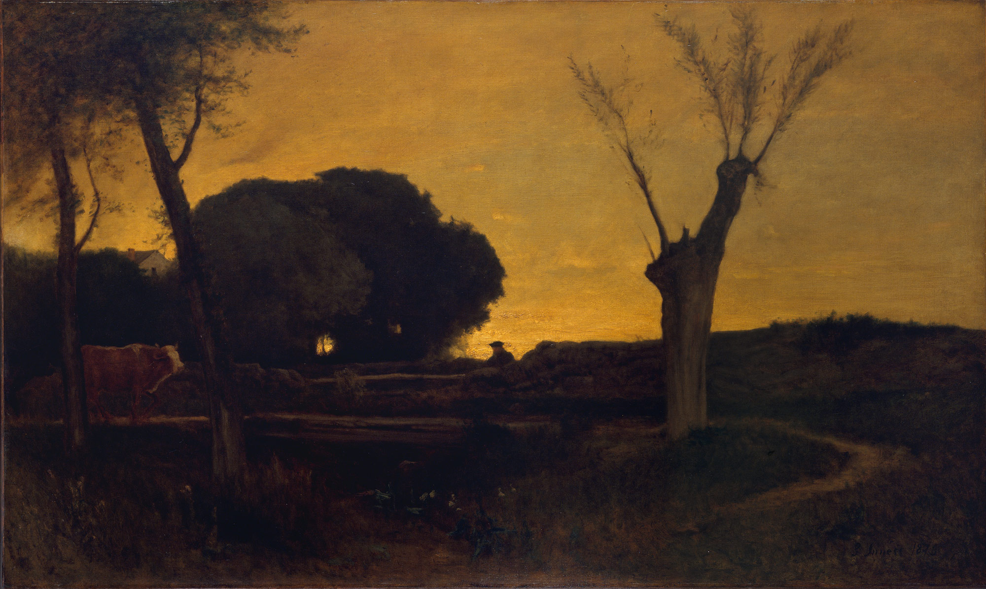 Nocturne paintings: Evening at Medfield by George Inness.