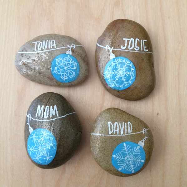 painted rock place cards