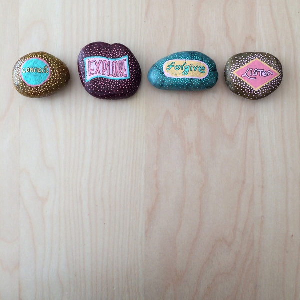 painted word rocks