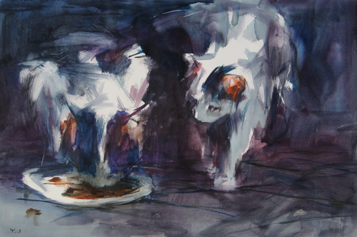 watercolor_cat_Late for Dinner (watercolor on paper) by Yael Maimon | artistsnetwork.com