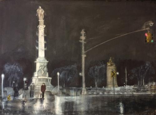 watercolor_landscape_columbus_circle_rain_23x30_nadine_charlsen | artistsnetwork.com