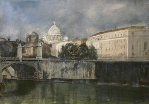 watercolor_landscape_The Vatican and the Tiber (watercolor on paper, 40x26) by Nadine Charlsen | artistsnetwork.com