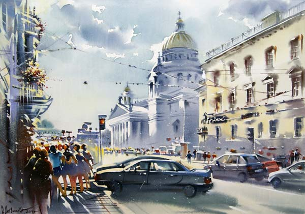 Malaya Morskaya (watercolor on paper, 16 1/2 x 23 3/5) by Olga Litvinenko | watercolor cityscapes