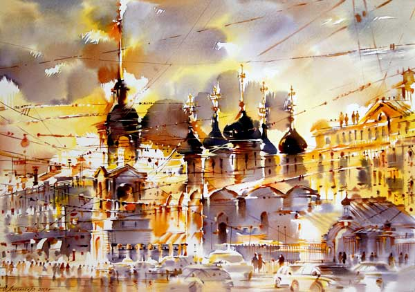 On Sretenka (watercolor on paper, 16 1/2 x 23 3/5) by Olga Litvinenko | watercolor cityscapes
