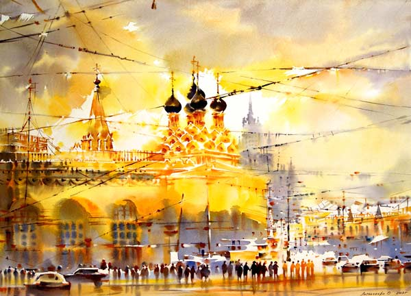 Taganka (watercolor on paper, 13 7/10 x 23 3/5) by Olga Litvinenko | watercolor cityscapes