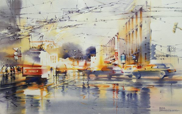 On the Street Komsomol (watercolor on paper, 15 x 23 3/5) by Olga Litvinenko | watercolor cityscapes