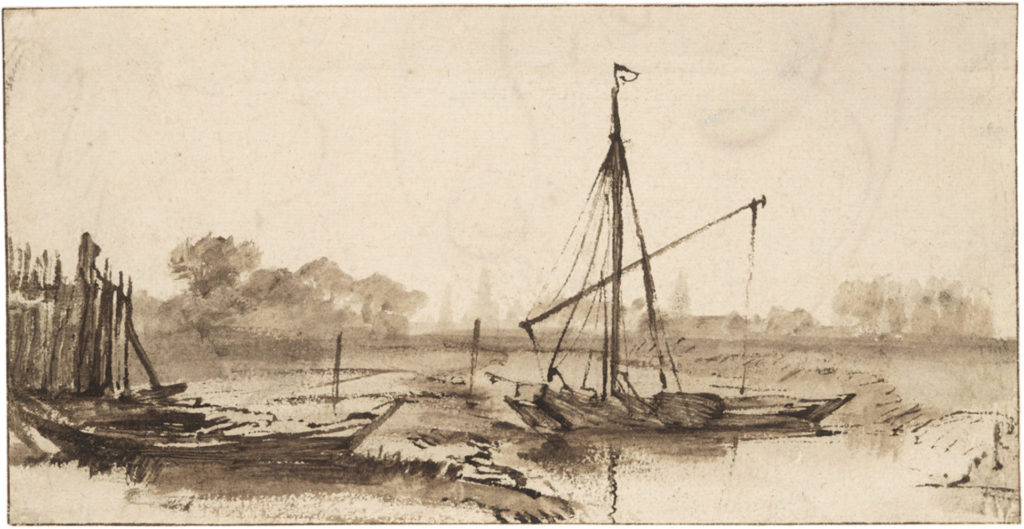 Brown ink: Canal and Boats with Distant View of Amsterdam by Rembrandt