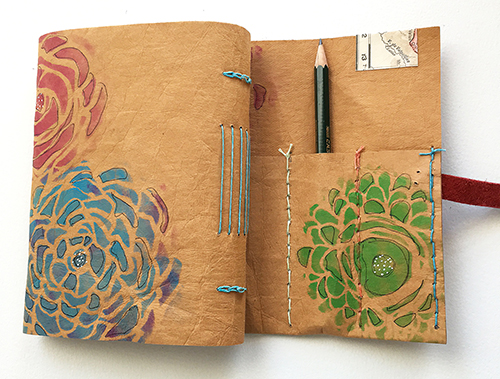 Handmade wrap-around travel journal