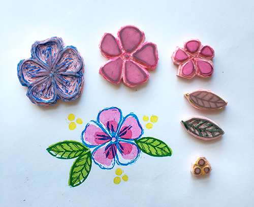 Hand-carved layered flower stamp