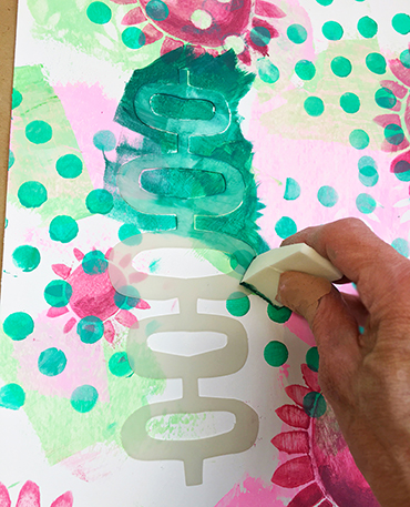 Layering stencils using a mask
