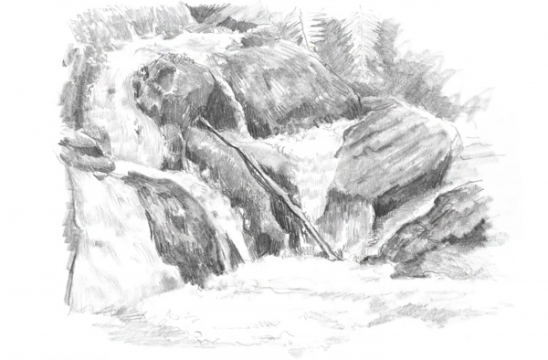 You can draw waterfalls step by step with these landscape pencil drawing techniques