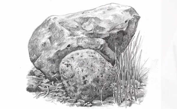 Draw textures for smooth and rough rocks in your landscape pencil drawings